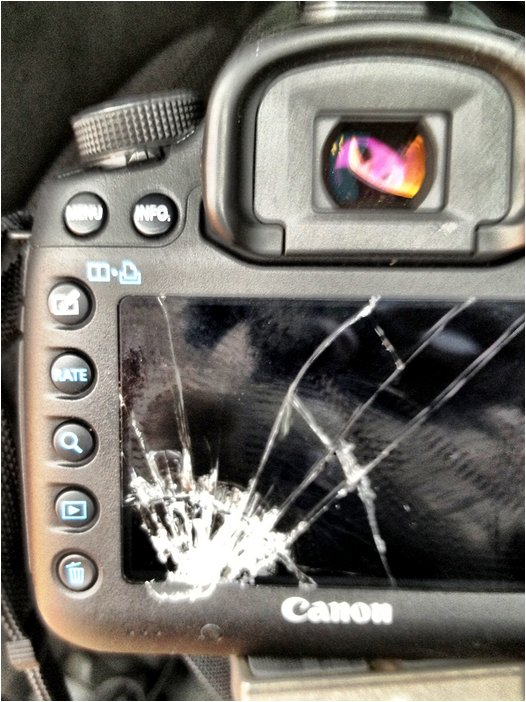 shattered LCD on digital camera