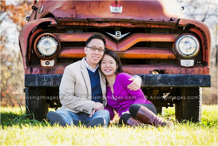 michigan engagement pics with an old truck