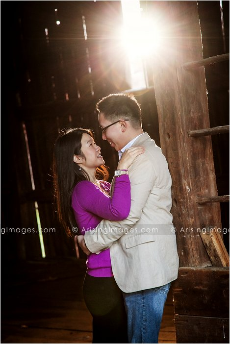 best engagement photography with barn