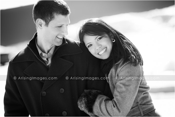 winter engagement session in michigan