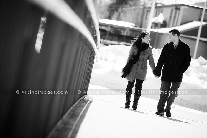 downtown winter engagement pics in michigan
