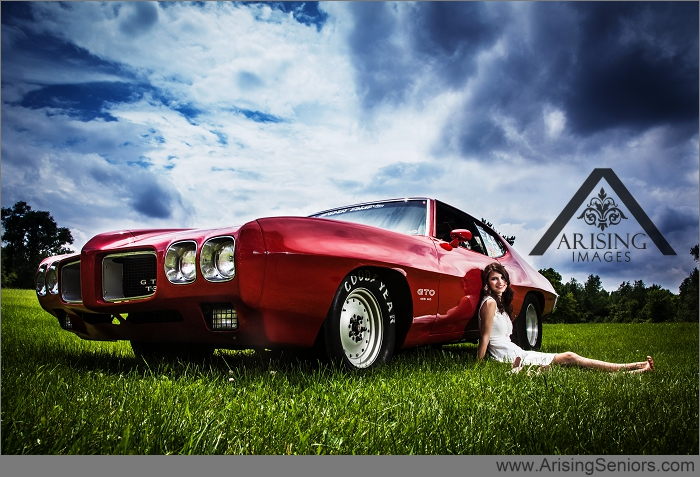 cool michigan senior pictures with a gto race car