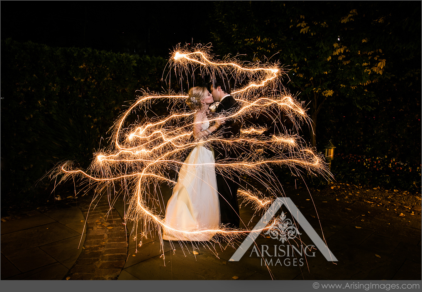 michigan wedding picture with sparklers