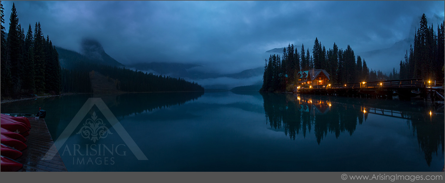 Emerald Lake in Yoho National Park.  Stormy and rainy morning