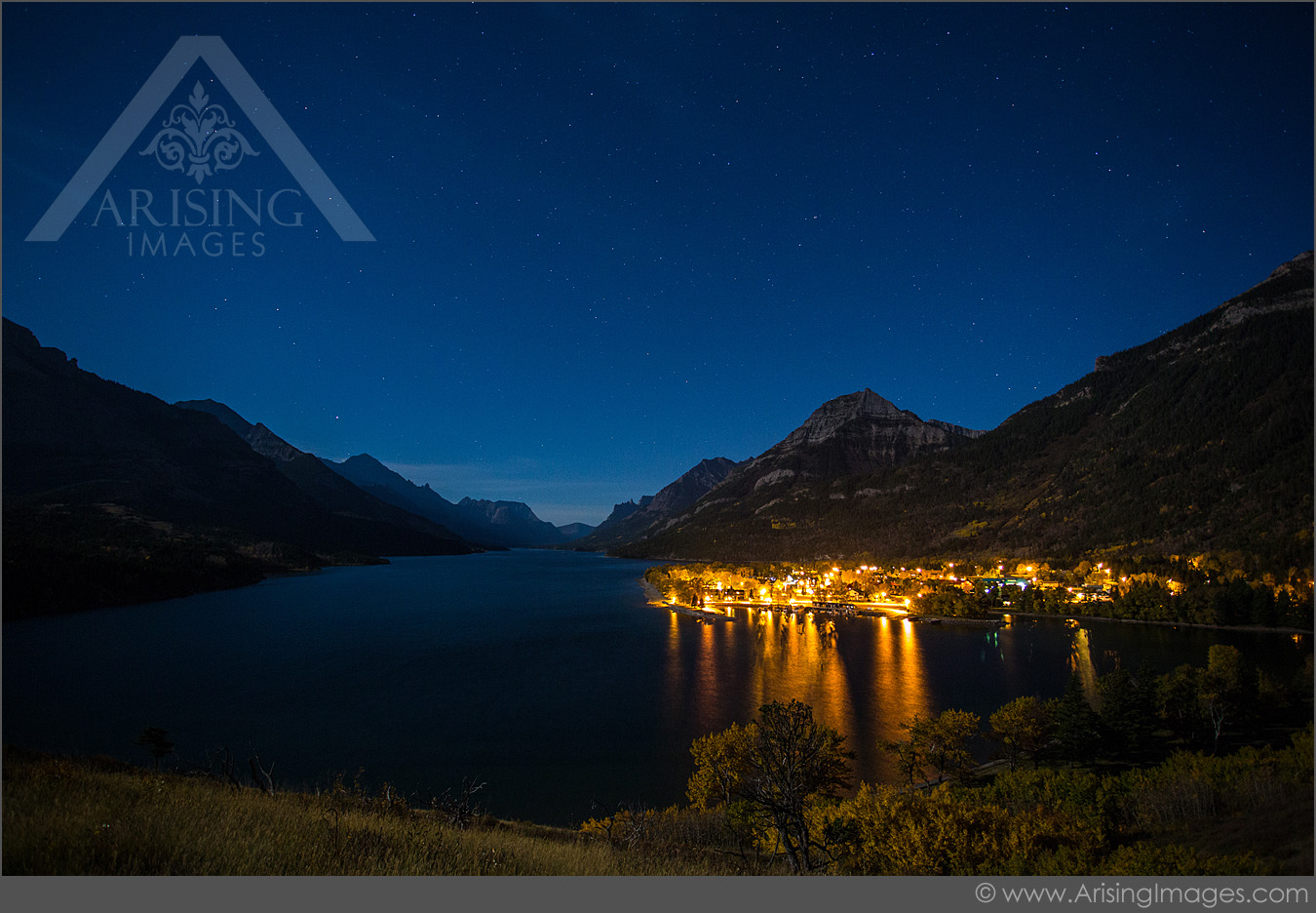 Night star photos over the Prince of Wales Hotel in Waterton Lakes National Park