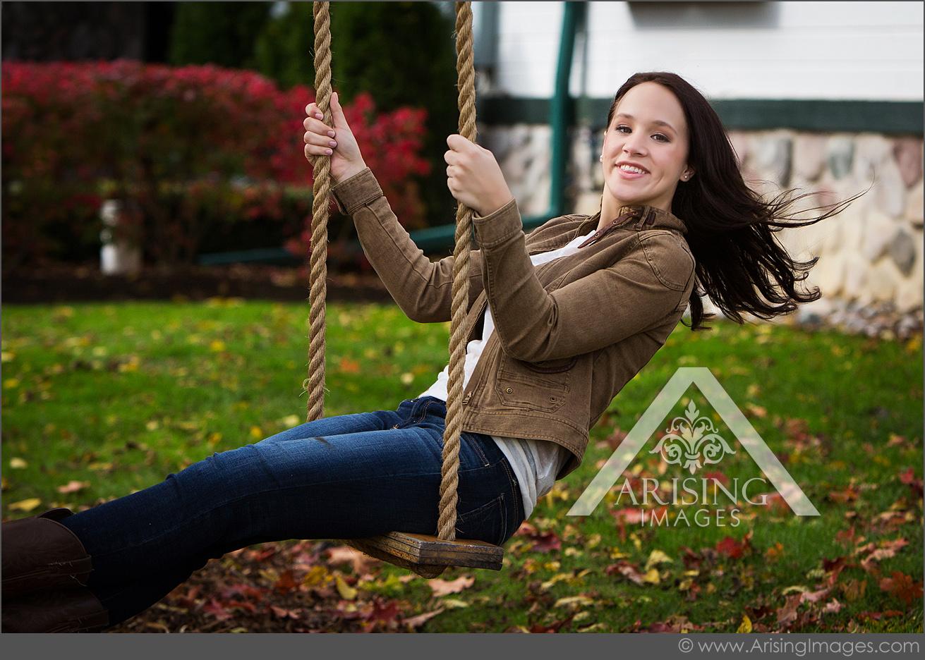 michigan senior pictures girl swinging