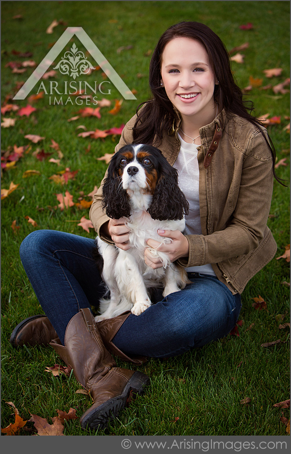 michigan senior pictures girl with dog