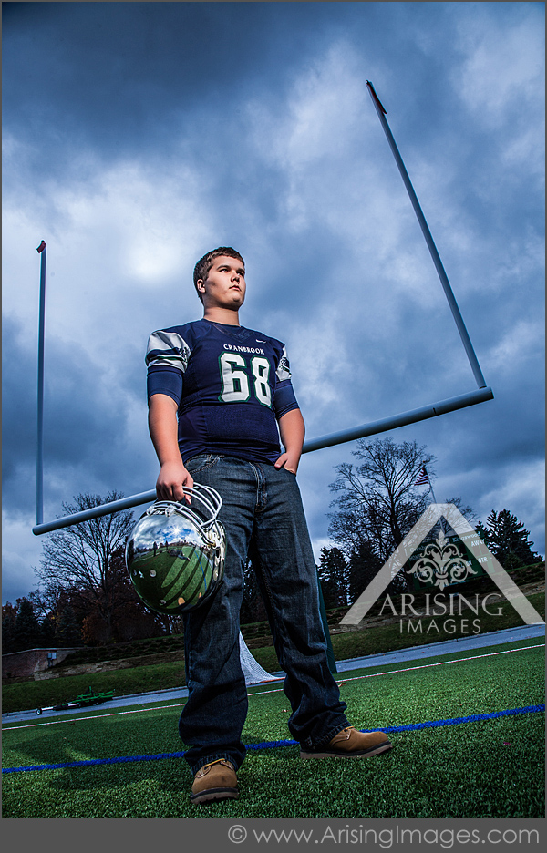cool football player senior pictures in michigan