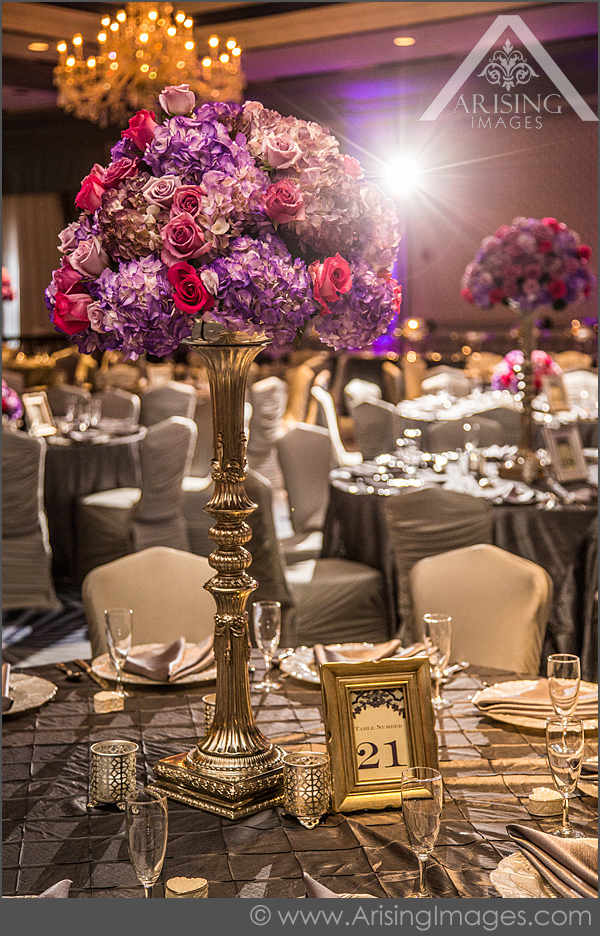 pink and purple wedding reception decor in michigan